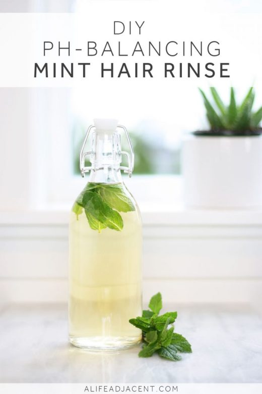 DIY mint hair rinse with apple cider vinegar