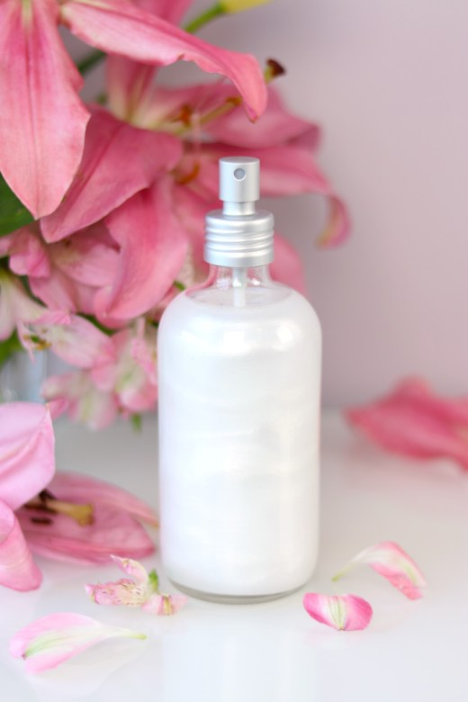 DIY shimmer setting spray with pink flowers