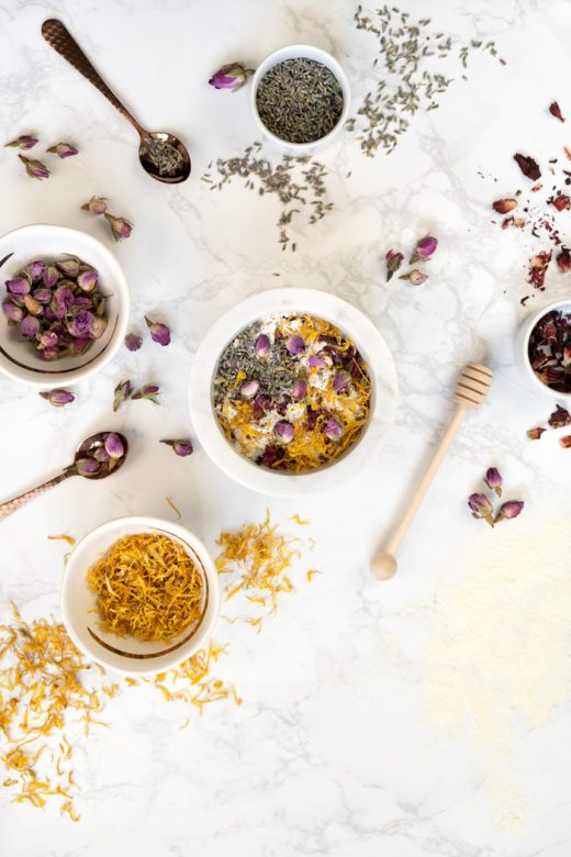 Ingredients for homemade floral bath