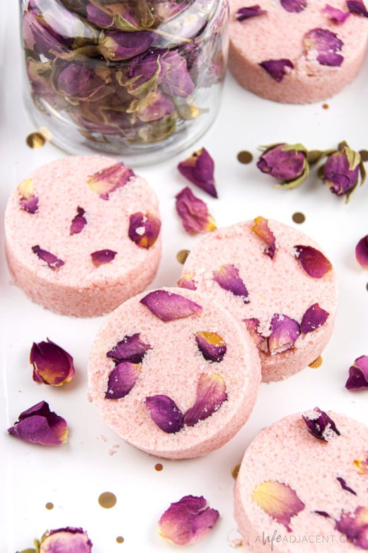 Homemade rose shower melts for aromatherapy
