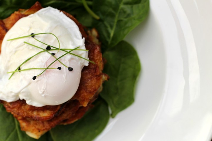 A hybrid of hashbrows and rostis, this potato latkes recipe is insanely good