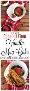 A mild vanilla flavored coconut flour cake sweetened with honey. This cake is free of grain, gluten, refined sugar and dairy! Only takes 2 minutes to bake in your microwave.