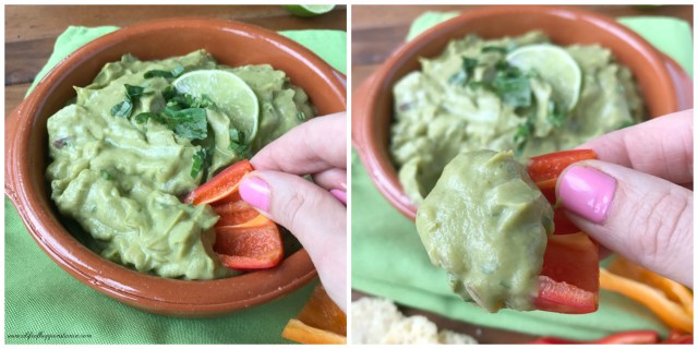 Two photos showing a red mini sweet peppers with broccoli dip (broccomole) on it.