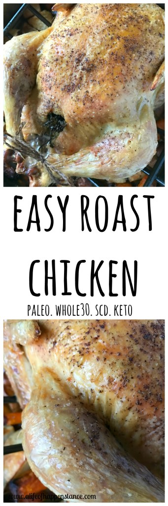 An easy roast chicken with crispy skin and tender meat!
