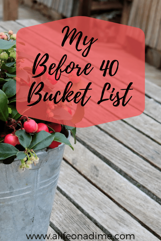 my before 40 bucket list