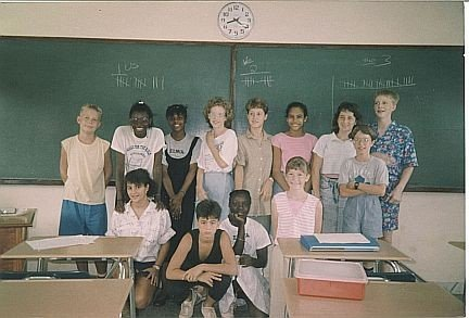 My 7th grade class at ELWA Academy in Liberia, 1988 (I am front right)