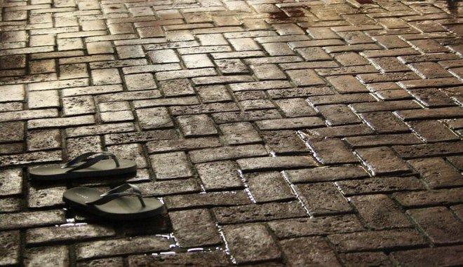 sandals on pavement