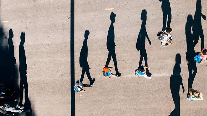shadows in an amusement park