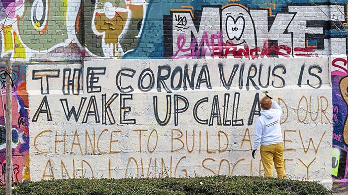 coronavirus graffiti