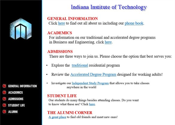 Welcome to Indiana Tech ! -March 1999