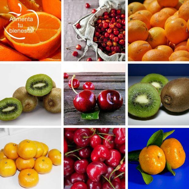 Frutas depurativas y antioxidantes: kiwi, naranja, mandarina y cerezas