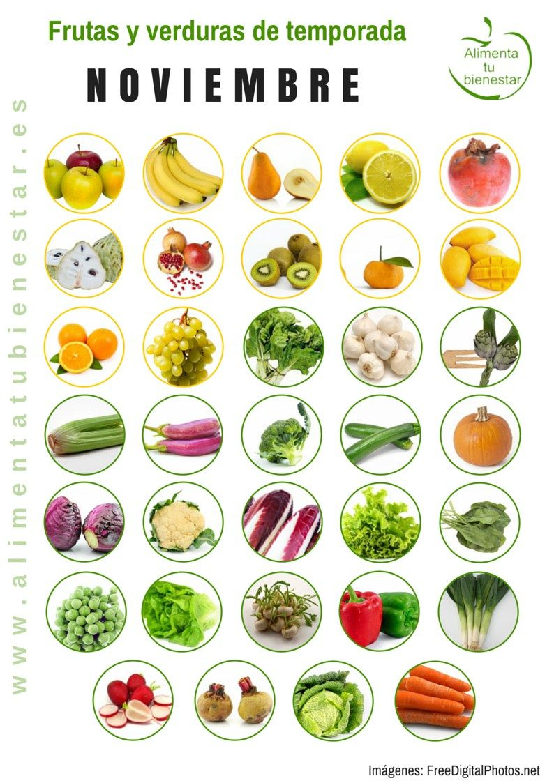 Frutas y verduras de temporada para noviembre