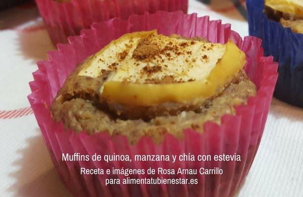 Receta Muffins de quinoa, manzana y chía con estevia