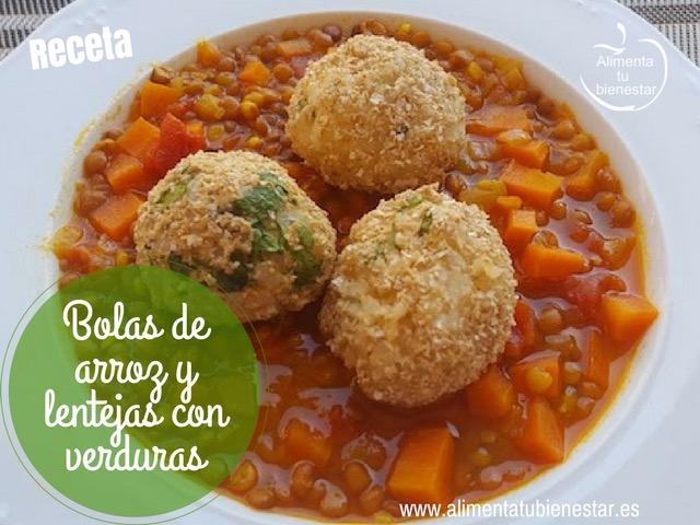 Bolas de arroz y lentejas con verduras