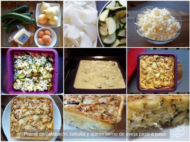 Pastel de calabacín, cebolla y queso tierno de oveja, paso a paso