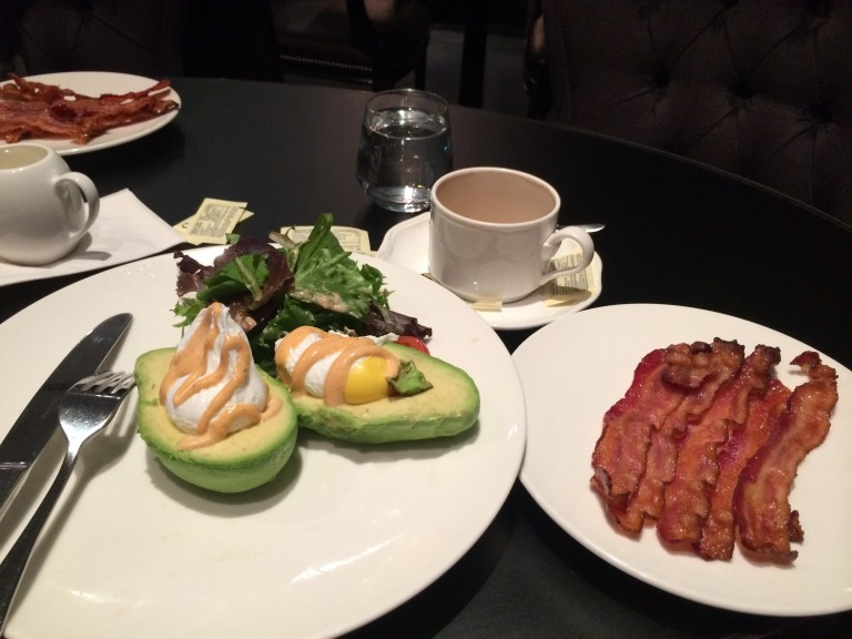 A very keto friendly breakfast - poached eggs in avocadoes with a side of bacon :) (At Moroco restaurant, Yorkville, Toronto)