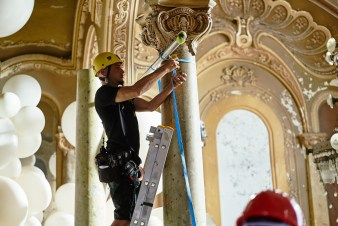 The pressure was too much on the pillar and they needed to hold it from above, fixing it to the main pillars
