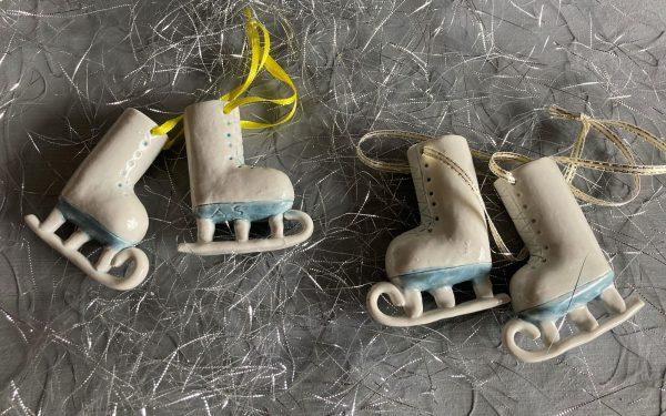 ceramic ice skates for hanging on Christmas tree