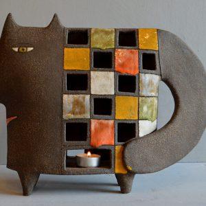ceramic standing cat candleholder
