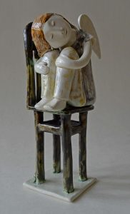 figurative-ceramics - 11b.Dreaming-Angel-faience-glazesh18