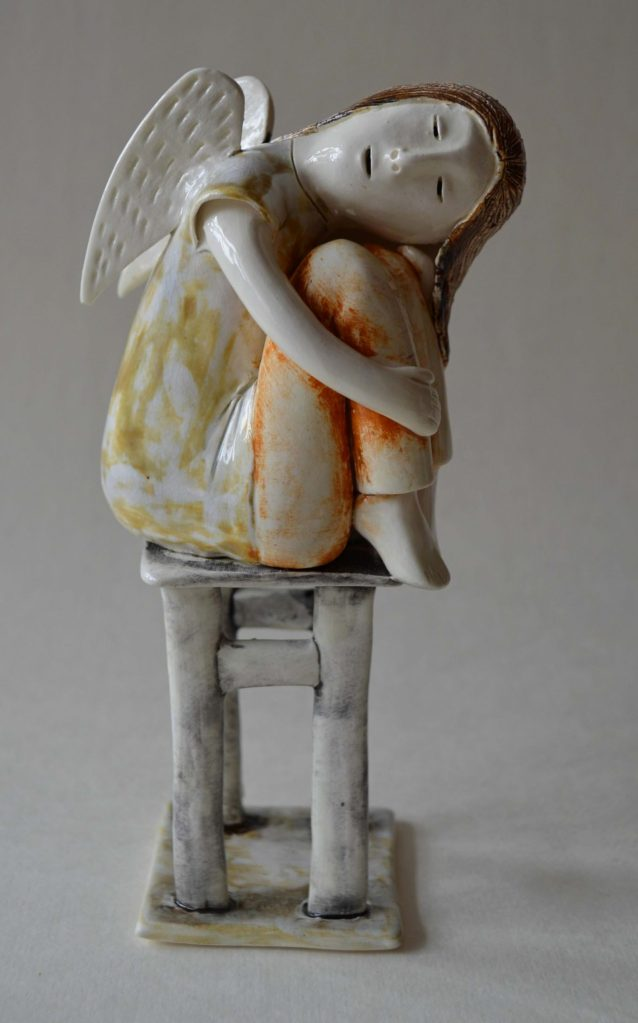 figurative-ceramics - 12.Dreaming-Angel-2-faience-glazesh18i