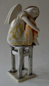 figurative-ceramics - 12a.Dreaming-Angel-2-faience-glazesh18
