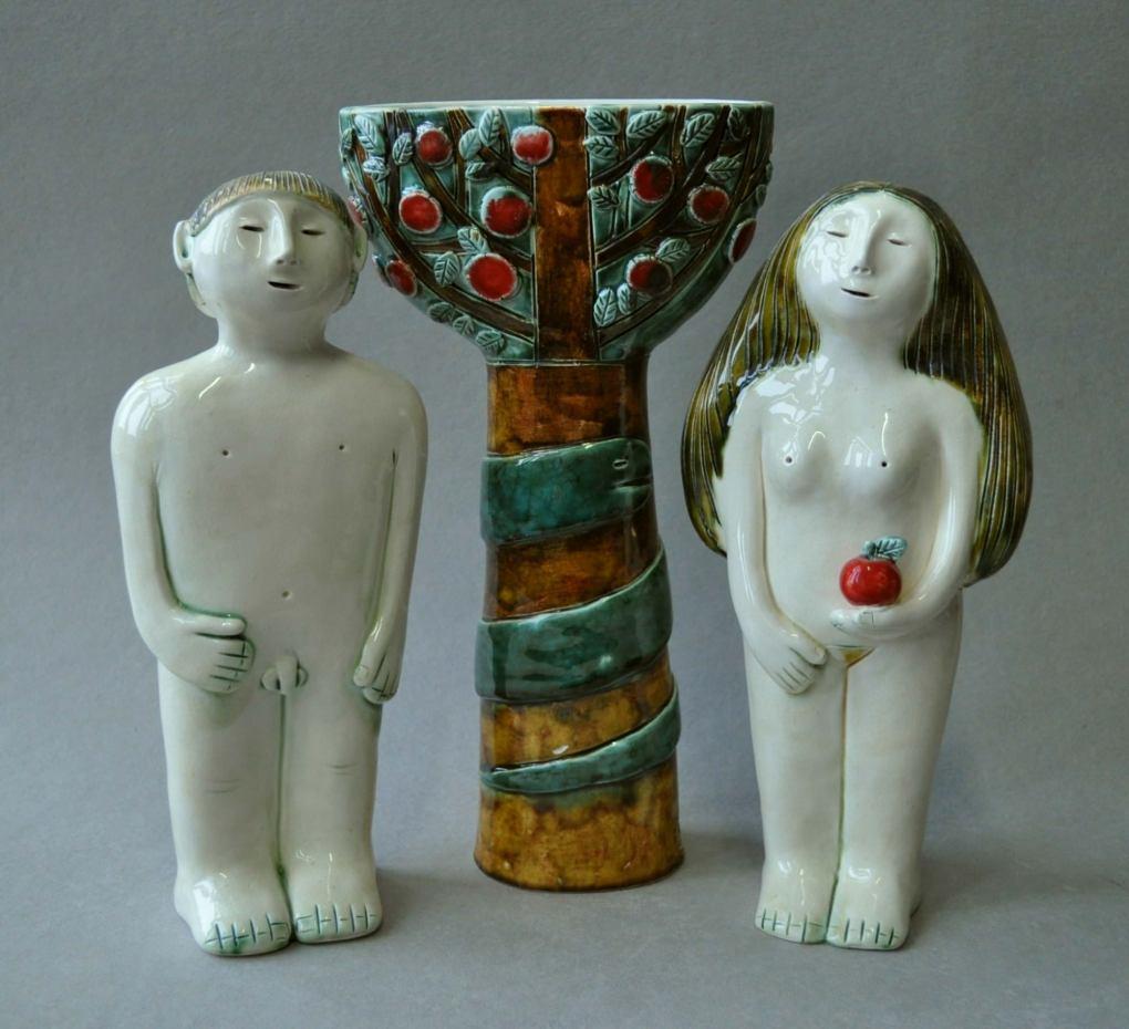 figurative-ceramics - 4.Adam-and-Eve.-faience-glazeh-25