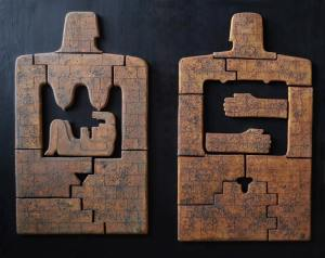 on-board - 16bFamily-foundation-womanman.diptychchamotteoxidespanno-ceramic-decorated-on-the-wood-board.-40x60