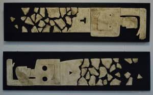 on-board - 6.From-the-series-Corsica.He-and-She-2.-chamotte-panno-ceramic-decorated-on-the-wood-board.-two-parts-160x40160x40-2013