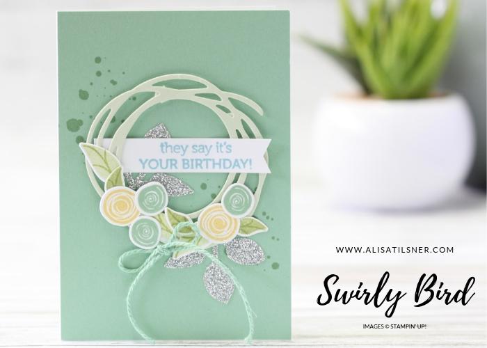 Swirly Bird Note Card