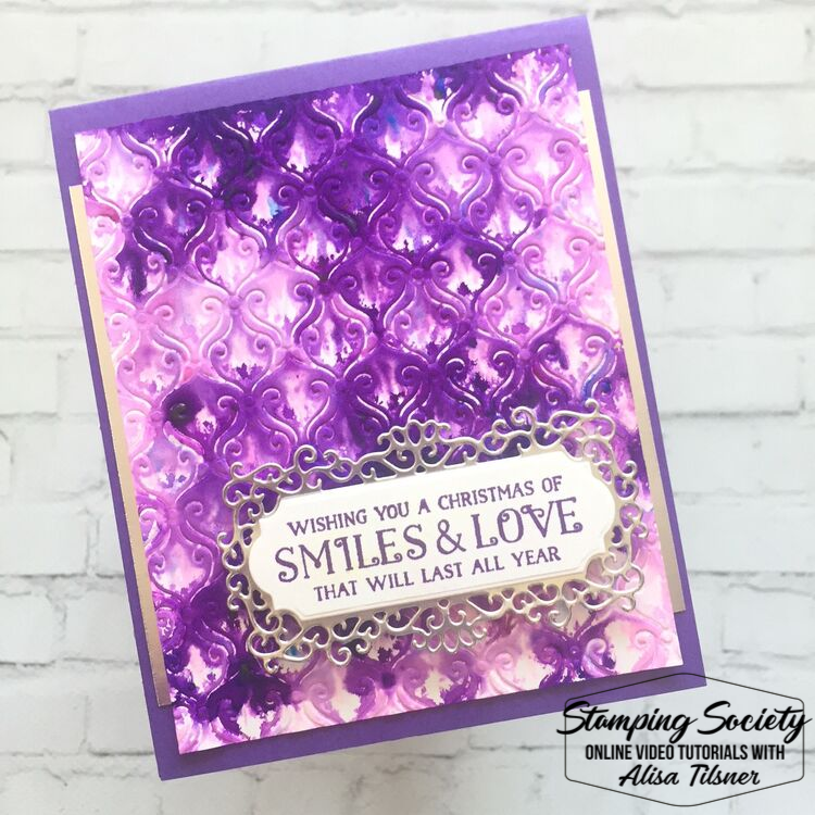 Pigment Sprinkles used with the Embossing Folder Technique.  Card by Alisa Tilsner.