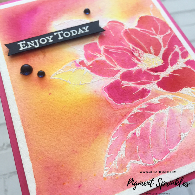 Stampin' Up! Pigment Sprinkles with Good Morning Magnolia stamp set.  Card made by Alisa Tilsner.  Video also on blog post.