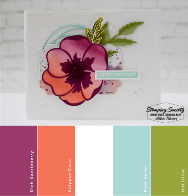 Stamping Society January Video Class and Blog Hop.  Peaceful Poppies Suite by Stampin' Up!, card created by Alisa Tilsner
