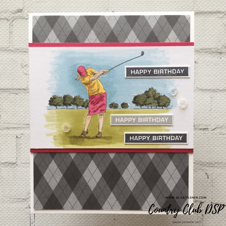 Country Club Designer Series Paper available from the Stampin' Up! Mini Jan - June Catalogue.  Card created by Alisa Tilsner