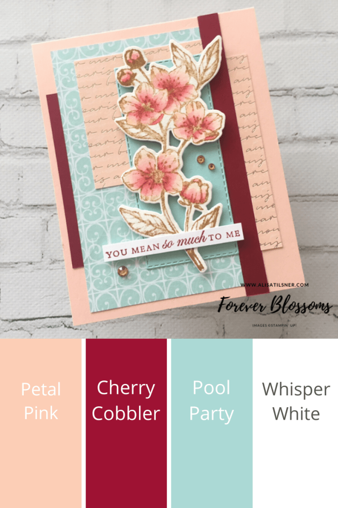 Stampin Up Colour Combinations!  Farewell Parisian Blossoms DSP!!  The DSP is on the retiring list, grab it while stocks last!  Card by Alisa Tilsner - Independent Stampin' Up! Demonstrator in Australia.