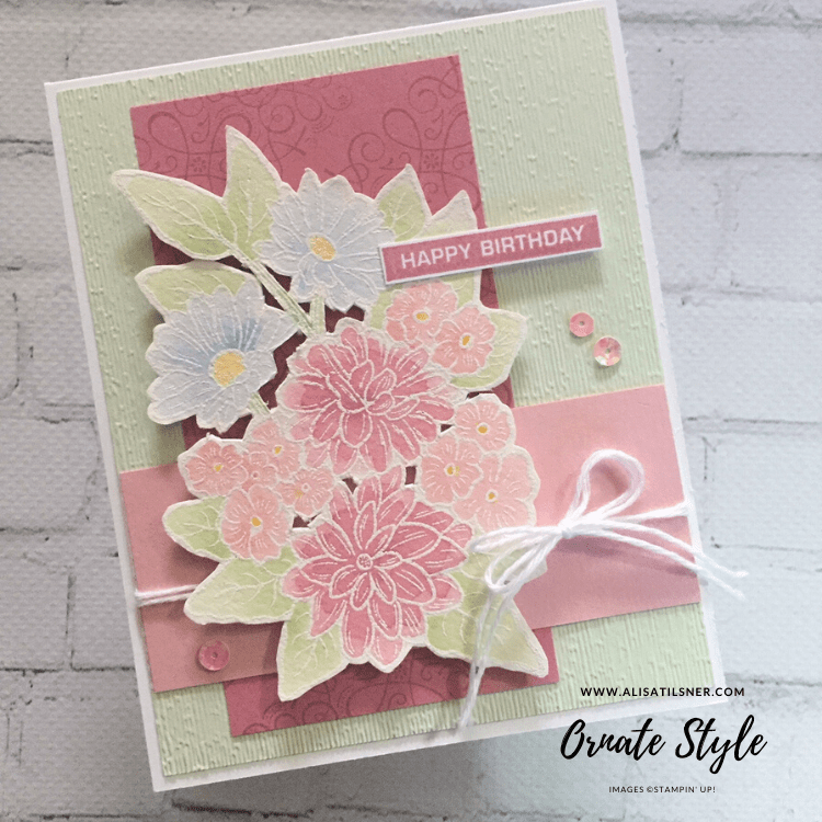Ornate Style in Pastel Colours.  Going for nice soft colours in this card.