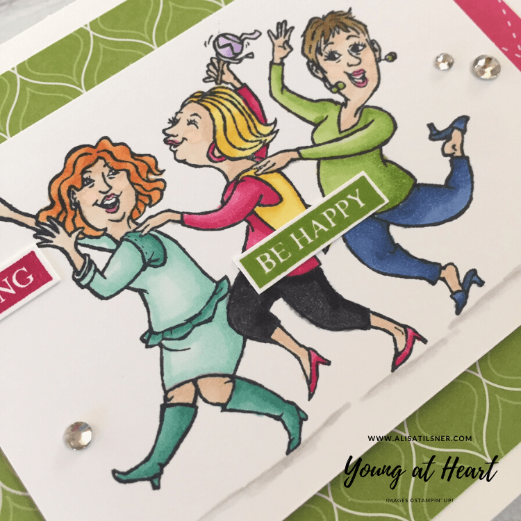 Stampin' Up! Young at Heart stamp set from the Annual Catalogue. Coloured with Stampin' Blends.  Card made by Alisa Tilsner