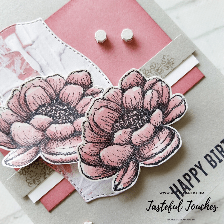 Stampin' Up! Tasteful Touches is a new stamp set and full suite in the upcoming Annual Catalogue.  Card by Alisa Tilsner
