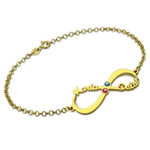 Personalized Infinity 2 Names & Birthstones Bracelet In Gold