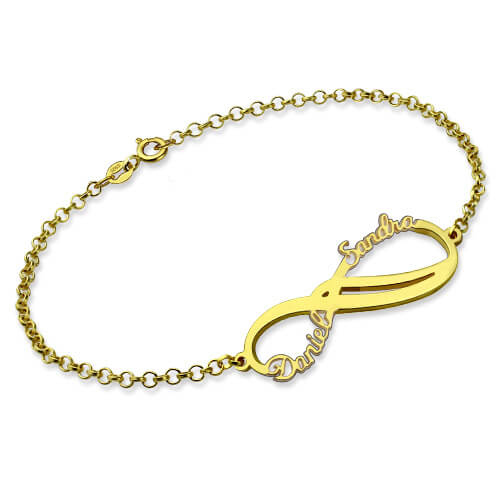 Personalized Infinity 2 Names Bracelet Gold Plated