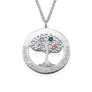 Circle Tree of Life Necklace with Birthstones