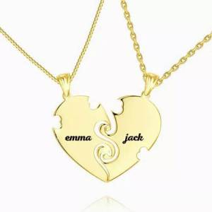 """""""True Love"""" Couples Heart Necklace With Engraving 14k Gold Plated"""