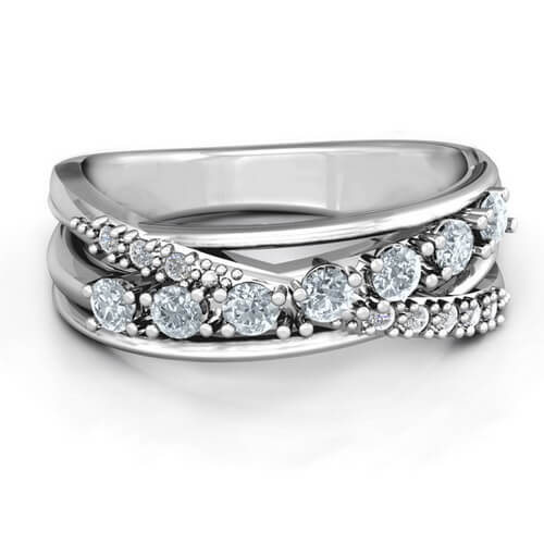Crossover Accent Multi Band Ring