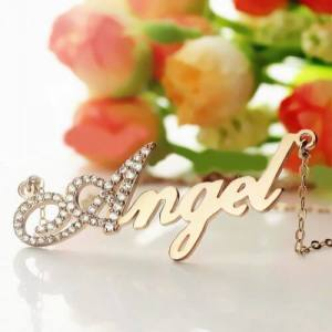 Rose Gold Script Name Necklace Initial Full Birthstones