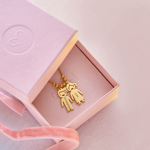 Mother's Necklace With Children Charms 14K Gold Plated