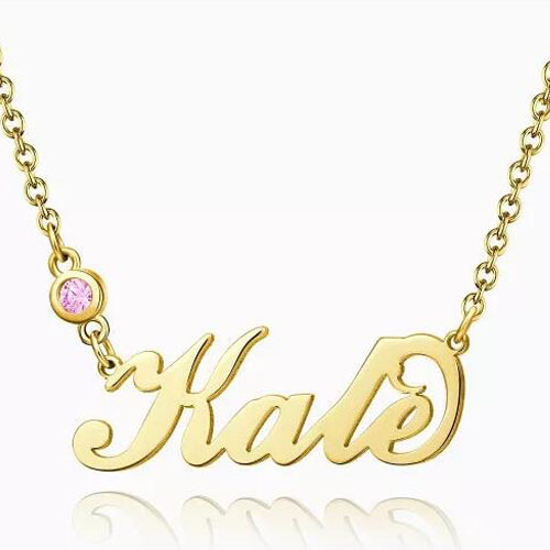 Personalized Birthstone Name Necklace 14k Gold Plated