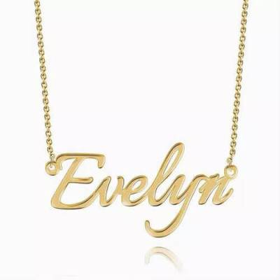 Personalized Name Necklace 14k Gold Plated