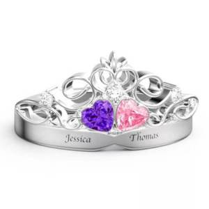 Personalized Heart Birthstone Crown Princess Promise Ring With Engraving Silver