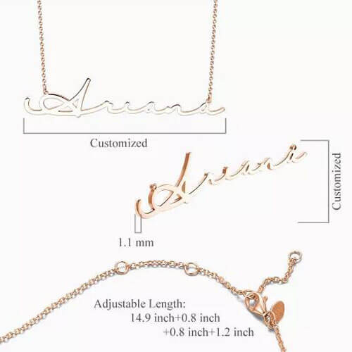 Signature Style Name Necklace Rose Gold Plated