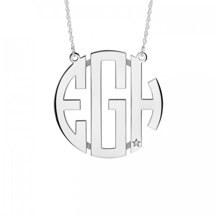 Diamond Accent Block Monogram Necklace